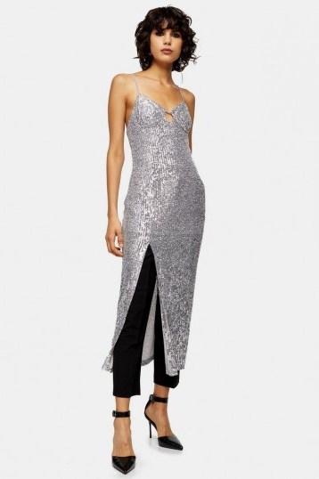 Topshop Silver Sequin Keyhole Midi Dress | sparkling slip dresses - flipped