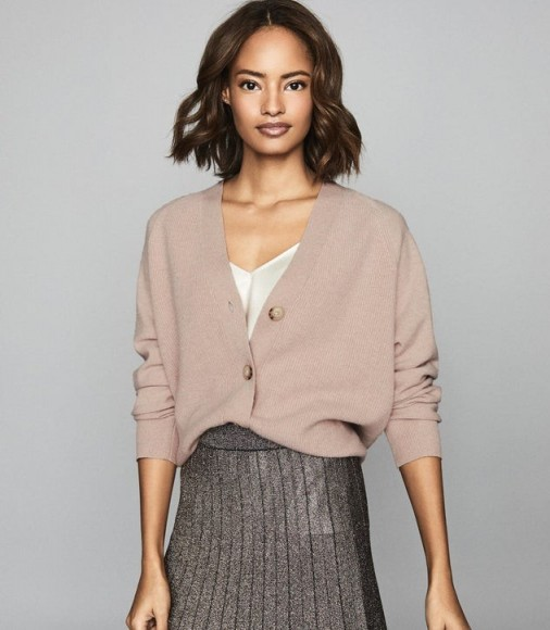 REISS SIMONE WOOL CASHMERE BLEND CARDIGAN BLUSH ~ casual luxe knitwear