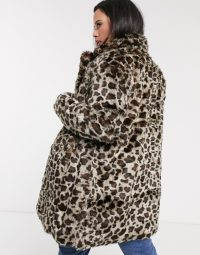 Simply Be faux fur coat in leopard print / fluffy winter plus size coats