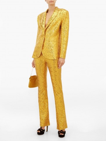 NORMA KAMALI Single-breasted sequinned blazer in gold