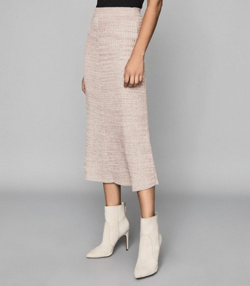 REISS SKYLA KNITTED MIDI SKIRT PINK ~ chic knitwear