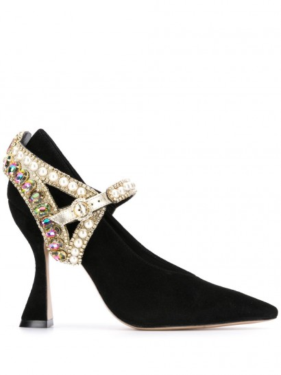 SOPHIA WEBSTER pearl and crystal embellished buckle pumps in black suede