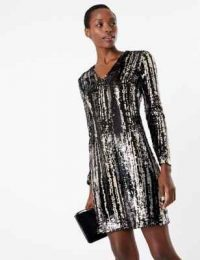 M&S COLLECTION Sparkly Shift Mini Dress in black mix ~ sequinned party dresses