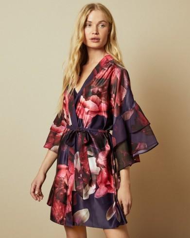 TED BAKER VARITA Splendour kimono in purple / kimonos / ruffle sleeve robes