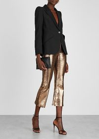 SPRWMN Bronze cropped suede trousers ~ crop hem party pants ~ instant evening glamour