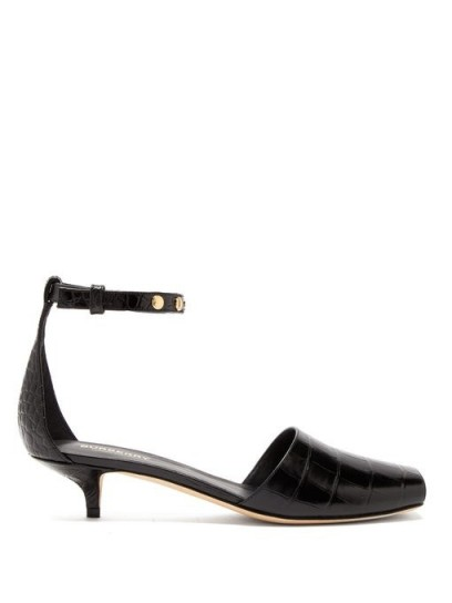 BURBERRY Stadling crocodile-effect leather pumps in black / squared off peep toe shoes