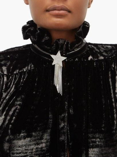 SAINT LAURENT Star & Love crystal-embellished tassel brooch ~ designer brooches - flipped