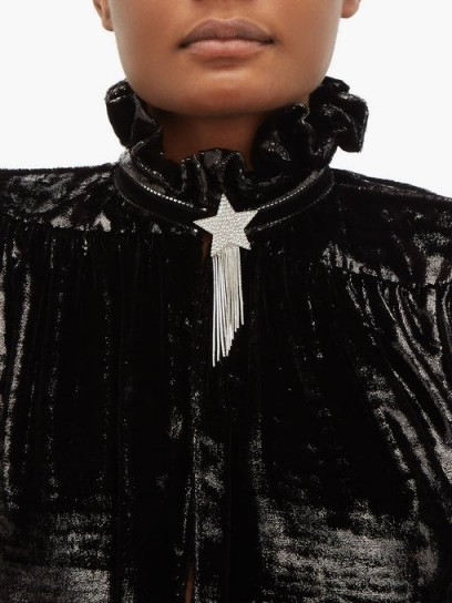 SAINT LAURENT Star & Love crystal-embellished tassel brooch ~ designer brooches