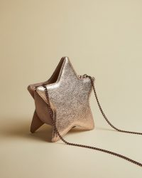 Ted Baker STARRY Star leather bag in rose gold ~ metallic evening bags