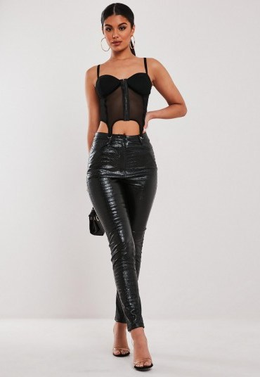 stassie x missguided black faux leather croc trousers - flipped