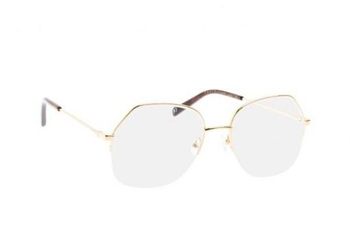 Stella McCartney SC 0159O 001 gold half-rim metal frame – round style frames – funky glasses - flipped