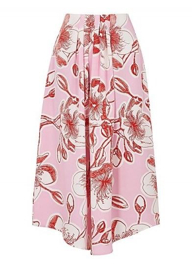STINE GOYA Blossom floral-print silk midi skirt ~ pink asymmetric skirts - flipped