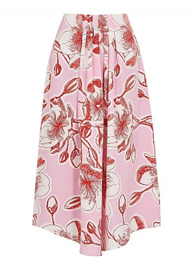 STINE GOYA Blossom floral-print silk midi skirt ~ pink asymmetric skirts