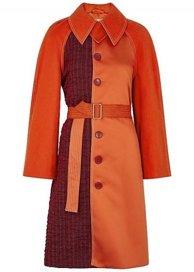 STINE GOYA Harrison orange panelled coat ~ luxe belted coats - flipped