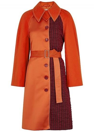 STINE GOYA Harrison orange panelled coat ~ luxe belted coats