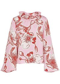 STINE GOYA Poppy floral-print silk blouse in pink ~ ruffle neck blouses