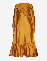 STINE GOYA Steffi puffed-sleeve crepe midi dress in gold