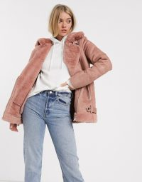 Stradivarius aviator jacket in pink / casual winter jackets with style