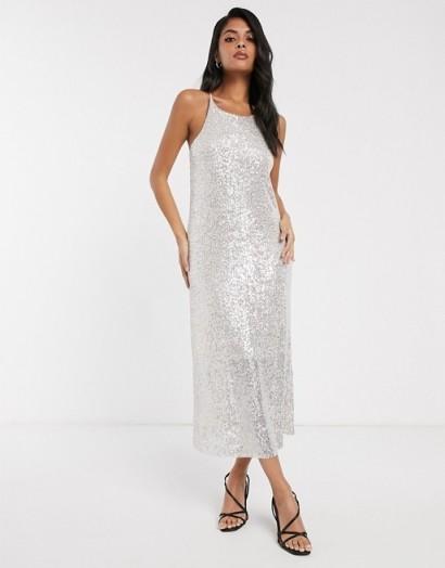 Stradivarius sequin midi dress in ecru – sparkly cami dresses