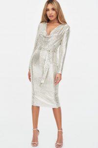 LAVISH ALICE stretch sequin cowl neck midi dress in silver / metallic party dresses