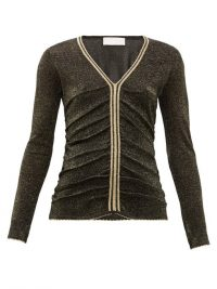 PETER PILOTTO Stripe-trim metallic sweater in black