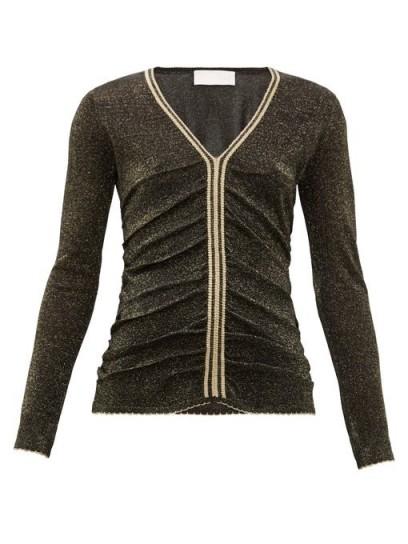 PETER PILOTTO Stripe-trim metallic sweater in black