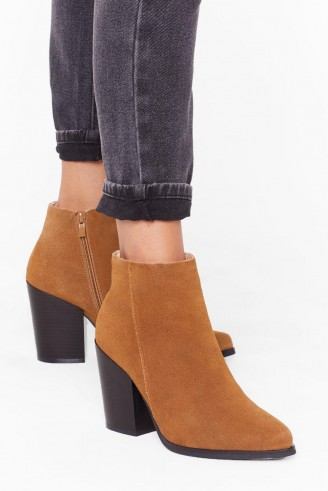 NASTY GAL Suede With Me Ankle Boots in tan