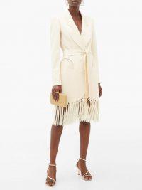 BLAZÉ MILANO Sunshine tie-waist tasseled crepe evening jacket in ivory ~ fringed tuxedo dress
