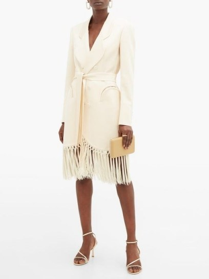 BLAZÉ MILANO Sunshine tie-waist tasseled crepe evening jacket in ivory ~ fringed tuxedo dress - flipped