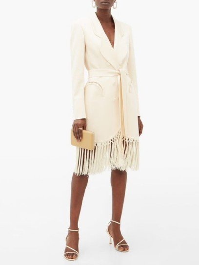 BLAZÉ MILANO Sunshine tie-waist tasseled crepe evening jacket in ivory ~ fringed tuxedo dress