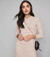 REISS SURI RIBBED CREW NECK JUMPER PINK