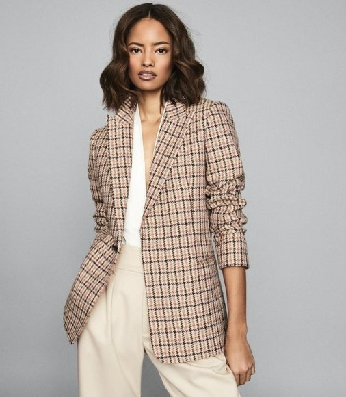 REISS TAYLOR CHECKED SLIM FIT BLAZER PINK PRINT ~ classic check jacket - flipped