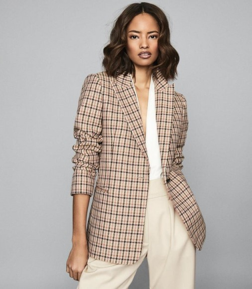 REISS TAYLOR CHECKED SLIM FIT BLAZER PINK PRINT ~ classic check jacket