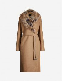 TED BAKER Corinna faux-fur trim wool-blend coat in tan | classic tie waist coats