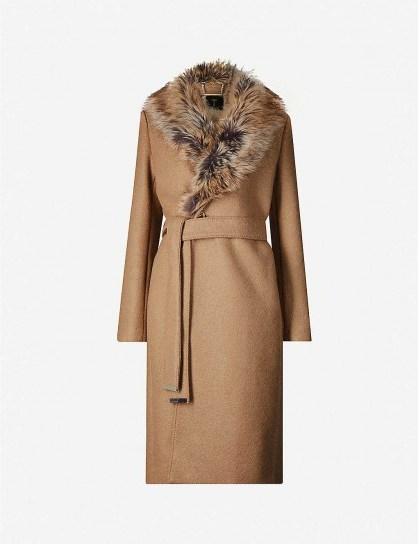TED BAKER Corinna faux-fur trim wool-blend coat in tan | classic tie waist coats - flipped