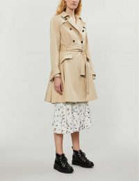 TED BAKER Luciey belted cotton-gabardine coat in natural ~ fit and flare mac