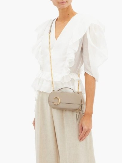 CHLOÉ The C structured leather cross-body bag in beige ~ small luxury crossbody - flipped