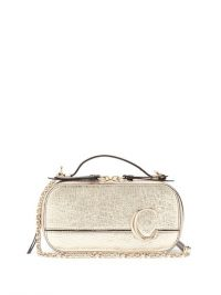 CHLOÉ The C structured metallic-leather cross-body bag in gold ~ luxe bags