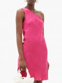 WORME The One Shoulder silk mini dress in dark pink