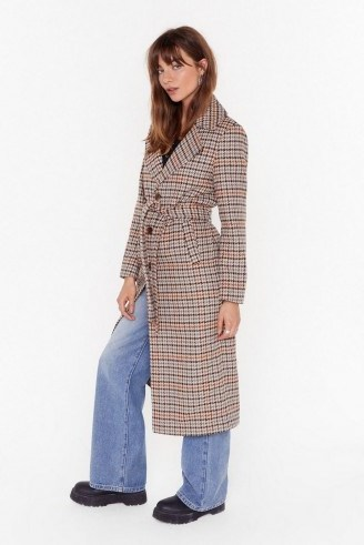 NASTY GAL The Winner Check's It All Longline Coat in stone / longling belted coats - flipped