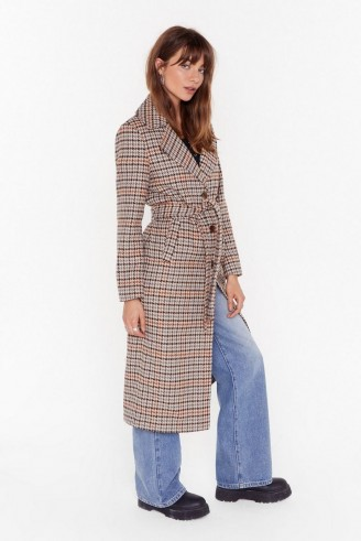 NASTY GAL The Winner Check's It All Longline Coat in stone / longling belted coats