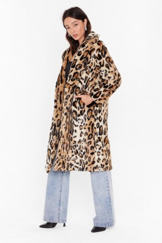 NASTY GAL This is Your Meow-ment Faux Fur Leopard Coat