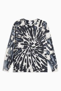 Topshop Tie Dye Long Sleeve By Topshop Boutique in Monochrome