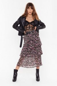NASTY GAL Tiers to Us Floral Midi Skirt. TIERED SKIRTS