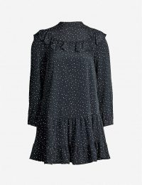 TOPSHOP Polka dot-print high-neck crepe mini dress in black / frill trim dresses