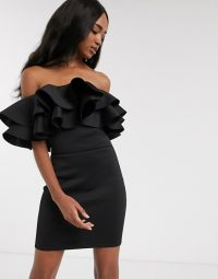 True Violet exaggerated frill bardot mini dress in black | LBD | off the shoulder celebration dresses