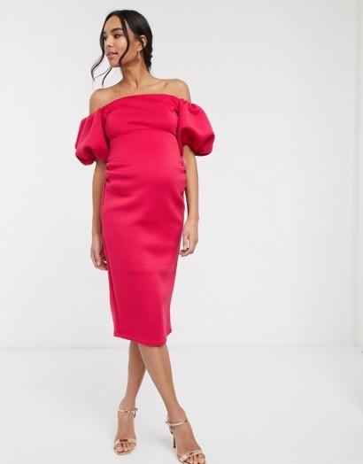 True Violet Maternity bardot puff sleeve midi scuba dress in deep fuchsia | bright-pink pregnancy dresses