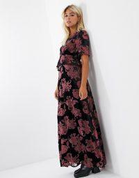 Twisted Wunder ruffle maxi tea dress in black floral burnout velvet / long devore dresses