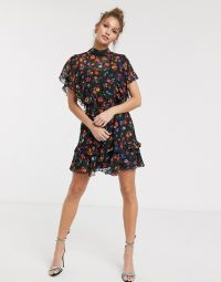 Twisted Wunder ruffle mini dress in bright floral | ruffled high neck dresses