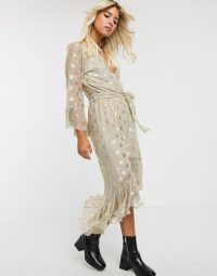 Twisted Wunder wrap maxi dress in sheer metallic gold spot / ruffle trim dresses